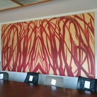 Red and cream art work on canvas Oakville, L6L 5N1