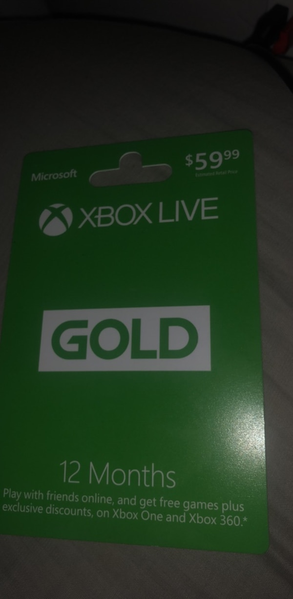 Unscratched 12 month Xbox live card