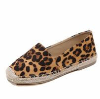 Leopard espadrille grain flat shoes loafers casual round toe flats