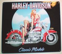 Harley Davidson Classic Models Babe Embossed Tin Sign by Ande Rooney  London