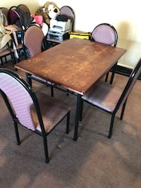 Rectangular brown wooden table with four chairs dining set Columbia, 29208