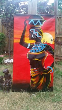 Stretched African canvas painting 40 km