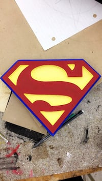 Hand made painted wooden superhero logos 554 km