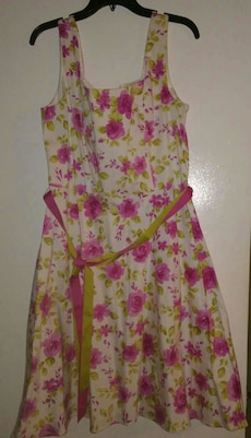 women's white green and pink floral sleeveless dre