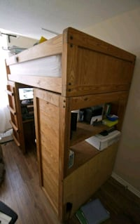 Solid oak bunk bed with desk underneath Mississauga