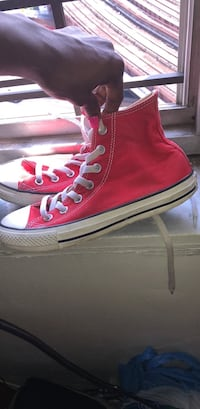 pair of red Converse All Star high-top sneakers New York, 10037