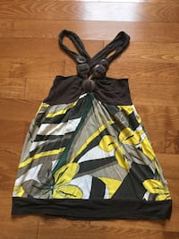 Black and yellow floral sleeveless shirt