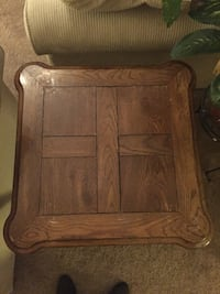 Brown inlay end table beautiful and retro