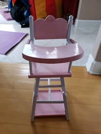 Doll high chair and table and chair