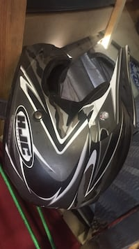 black and gray HJC full-face helmet