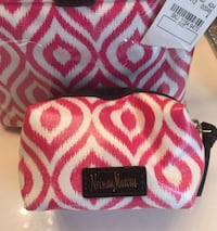 NEW(tags still attached) Neiman Marcus pink & white make up/toiletry bag Spring, 77386