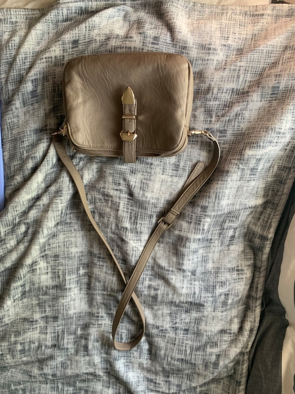 Greay leather three pouch purse