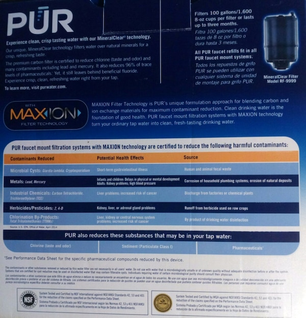 PUR brand faucet mount H2O filter