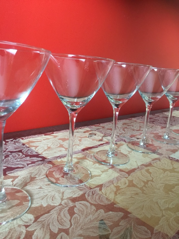6 clear glass martini glasses