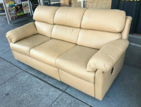 "#28150 Leather Factory 78"" Wide Recliner Sofa"