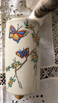 white, red, blue, yellow, and green butterflies print ceramic canister 3731 km