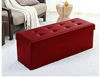 tufted red leather ottoman bench