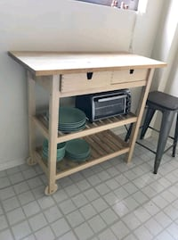 Butcher block topped wooden kitchen cart Washington, 20006