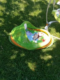 baby's green and blue monkey print activity gym