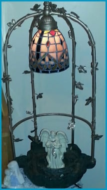 Stainless lamp with a water/plant base bottom