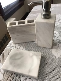 Marble Bathroom Set dish soap Soap pump and toothbrush holder $38.00 Providence