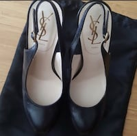 Authentic YSL black leather sling back pumps Seattle, 98109