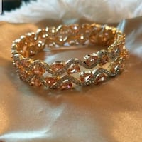 Gold plated bracelet with silver & peach stones Alexandria, 22304