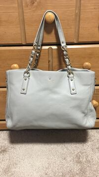 Gray kate space leather chain link shoulder bag