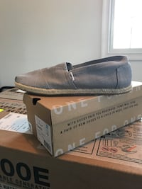 Men's gray Toms shoes with box