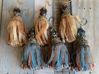 """Tassels decorative with jewels and crystals  9"""" tall Suffolk, 23435"""