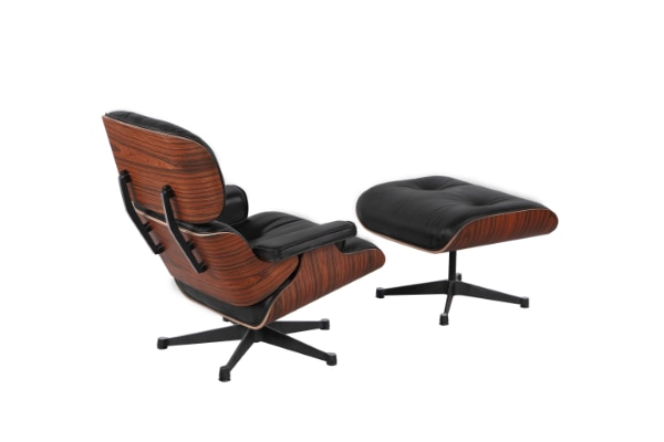 Eames Lounge Stoel Replica.Used High End Eames Lounge Chair Replica Black Leather New For