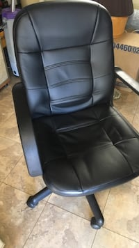 black leather rolling chair