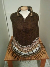 fringed brown and white collared top Grande Prairie, T8W 1Z1