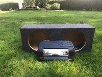 12 inch Subwoofer box, amp, and signal adapter bundle Surrey, V4A 3B2