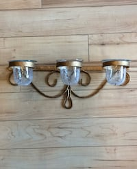 "Glass and metal wall candle holder 23"" long"