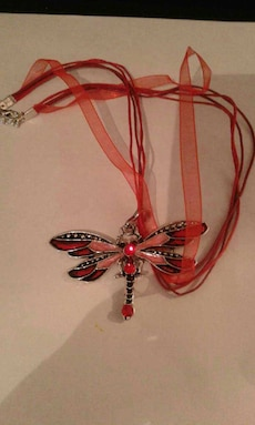 Butterfly necklace  (red or blue)