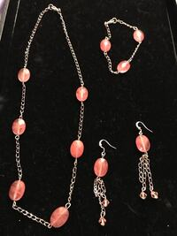 3 piece coral set necklace bracelet and earrings  Rochester, 14626