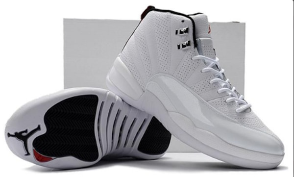 "38d348eccfe74a Used Cheap Air Jordan 12 Retro""Rising Sun"" All White Varsity Red ..."