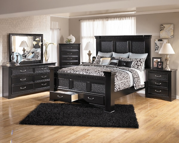 Ashley Cavallino Mansion King Bed and 2 Drawer Chest.