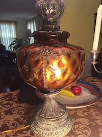 Huge Vintage amber color heavy lamp. 40x12 Derwood, 20855
