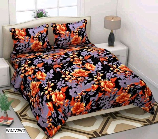 red and black floral bed sheet