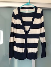 Navy & white striped cardigan. M Los Angeles, 90066