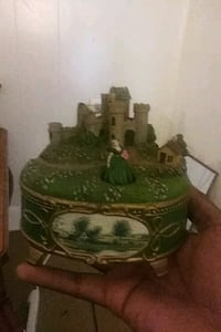 green and brown ceramic house miniature Houston