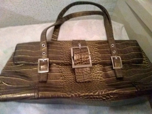 brown crocodile skin leather tote bag