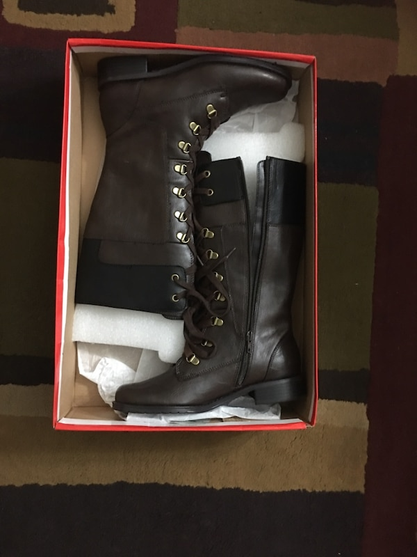 pair of black leather lace-up side-zip knee-high boots with box