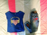 Really cute girls blouse and jeans size 7 Hesperia, 92345