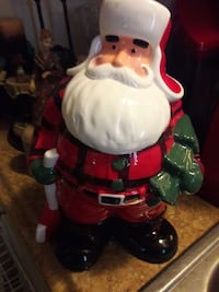 LUMBER JACK SANTA COOKIE JAR