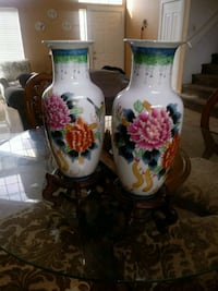 white, red, and green floral ceramic vase Palmdale, 93550
