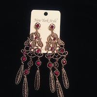 gold-colored and pink beaded hook earrings West Orange, 07052