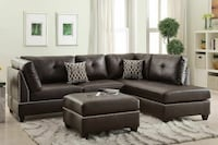 FREE DELIVERY BLACK FABRIC SECTIONAL SOFA WE FINAN